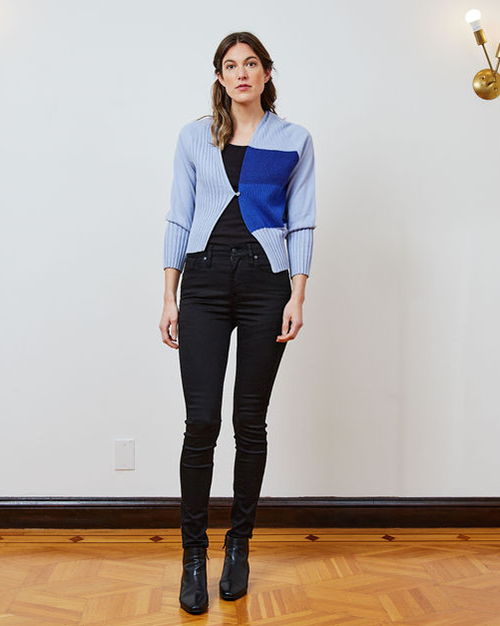 Load image into Gallery viewer, Sky Blue Ribs Asymmetric Cardie - FW21 Pre-order