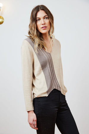 Coffee Oat Rib Panel Sweater