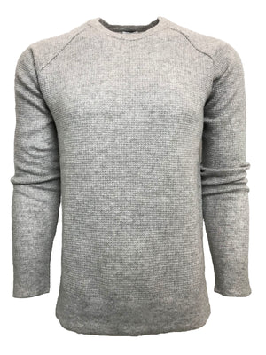 WAFFLE KNIT RAGLAN HEATHER GREY