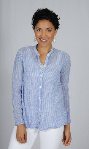Lila Blouse in Blue Stripe