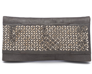 Fava Clutch in Pewter