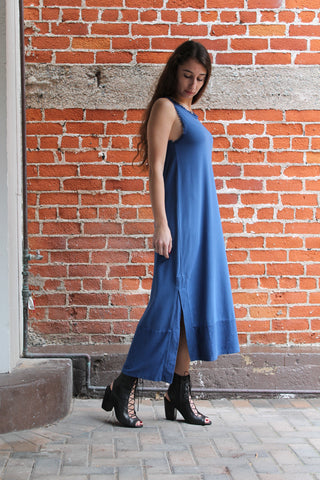 "Cazzual ""Silk Trim"" Dress in Blue"