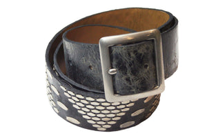 "Calleen Cordero Pyramid 1.5"" Belt in Black-Iguana"