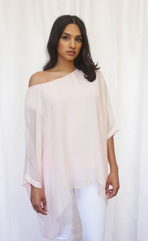 Silk Cape Sleeve Blouse