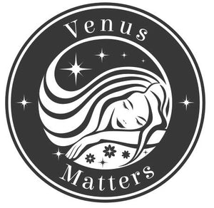 The Venus Matters logo features a woman sleeps without worrying about the bedding on a Venus Mat.
