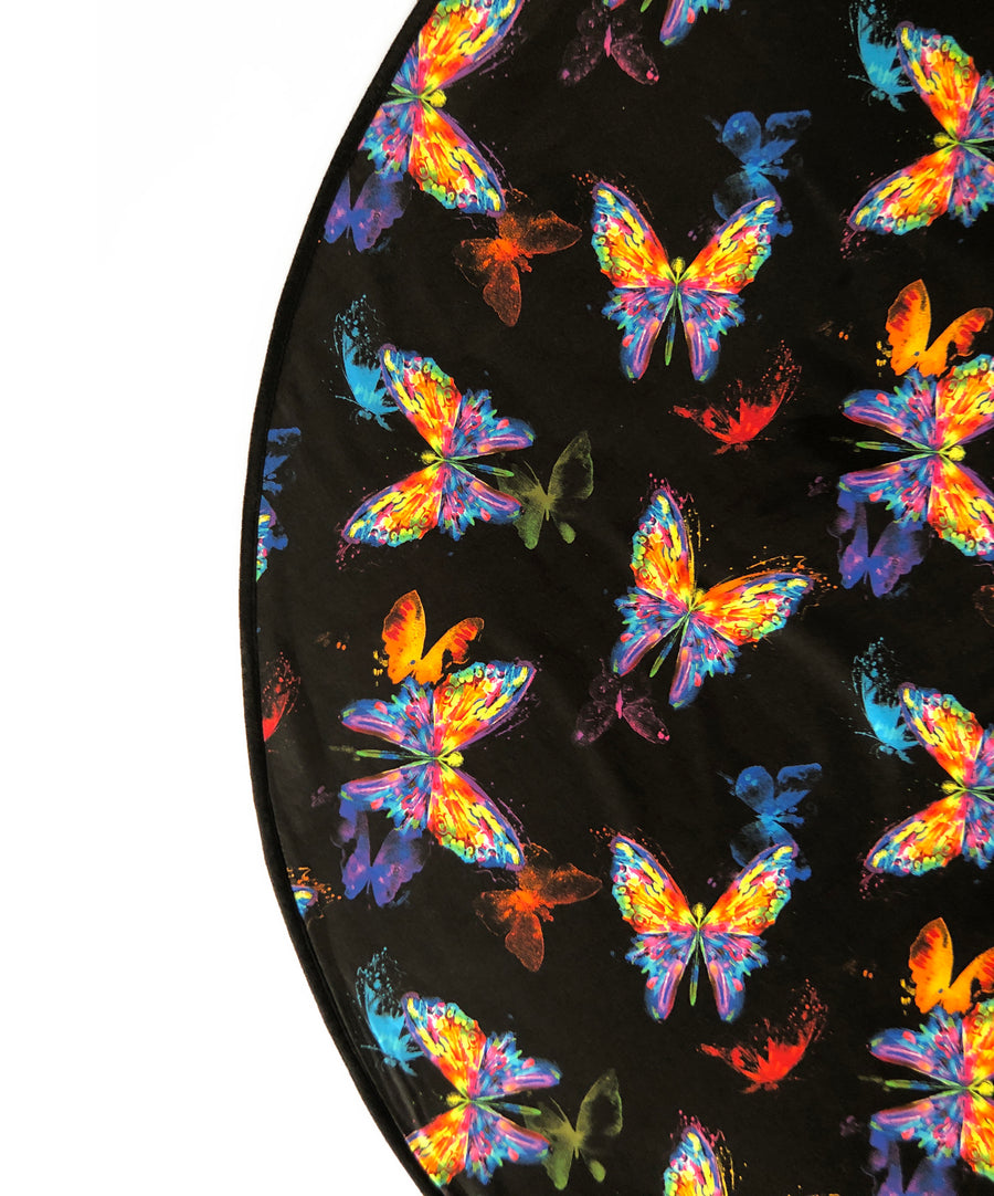 Butterflies Venus Mat - watercolor butterlifes on a cotton bed mat, with a breatheable waterproof backing guaranteed for three years.