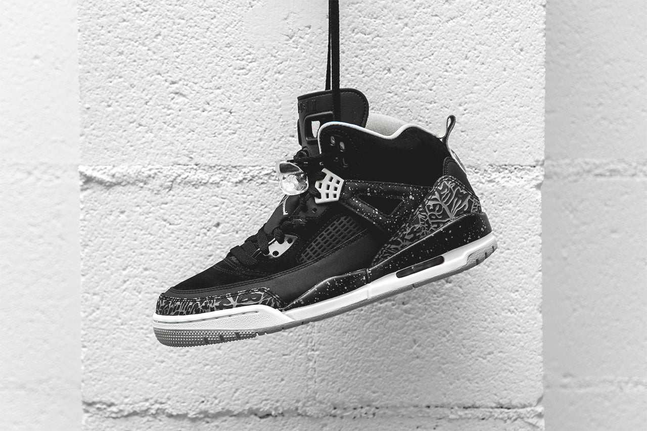 "This ""Oreo"" edition of the Jordan Spizike is dressed in a Black, Cool Grey,  Grey Mist, and White color scheme. The shoe features a full Black-based  upper ..."