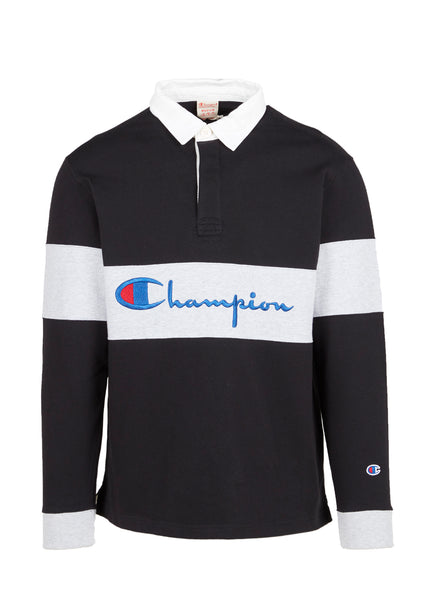 CHAMPION: REVERSE WEAVE STRIPED LS POLO SHIRT [BLACK]