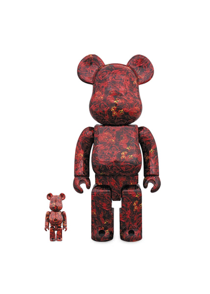 MEDICOM: BEARBRICK 100/400% LEATHER ROSE [RED]