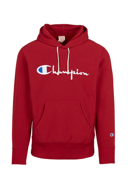 CHAMPION: REVERSE WEAVE BIG SCRIPT HOODIE [RED]
