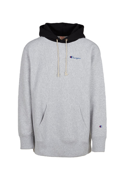 CHAMPION: REVERSE WEAVE COLOR BLOCK HOODIE [GREY]