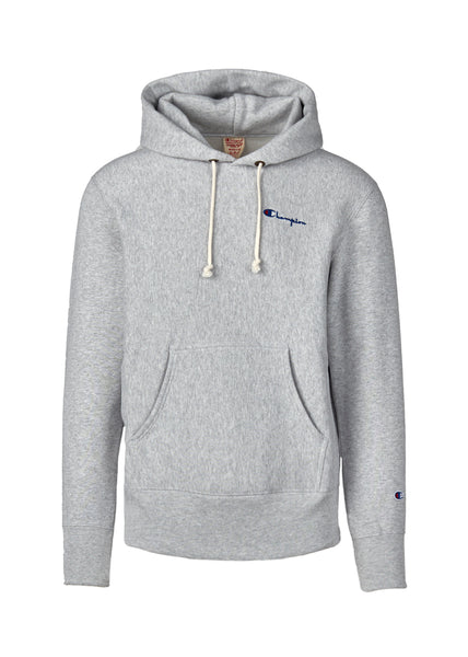 CHAMPION: REVERSE WEAVE SMALL SCRIPT HOODIE [GREY] - apb-store