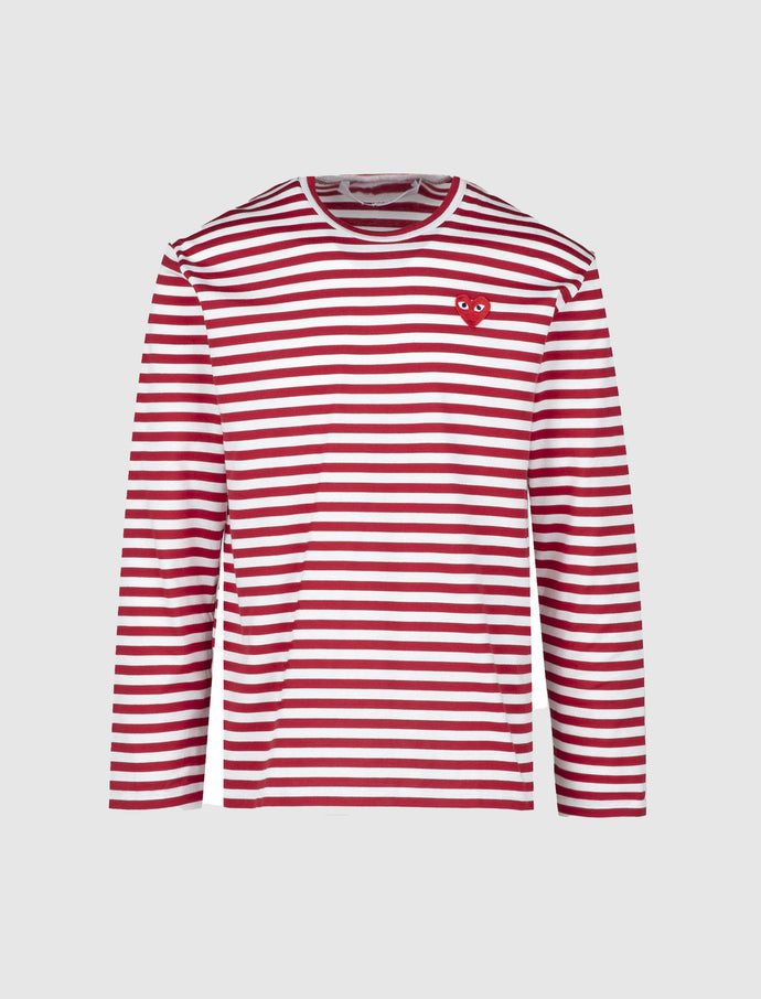 RED STRIPED HEART LOGO LONG SLEEVE TEE
