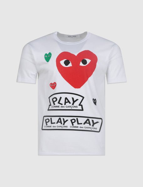 CDG PLAY: HEART TEE [WHITE]