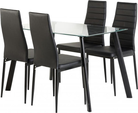 Abbey Dining Table In Clear Glass With Four Black PU Chairs