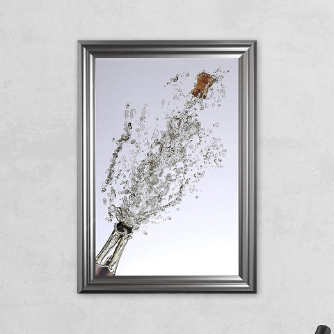 48 x 68 cm Framed Ch&agne Bottle Print - - Hand embellished with liquid glass and & Framed Wall Art u2013 Furniture Essentials