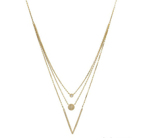 Triple Strand Necklace 14 K Gold Plated