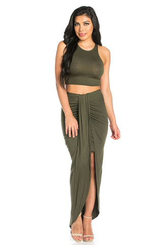 Sexy Crop Top and Ruched Maxi Skirt Set