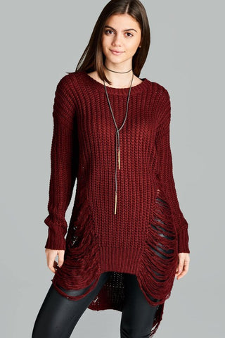 Distressed Merlot  Sweater