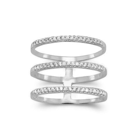 Sterling Silver Triple Row CZ Ring