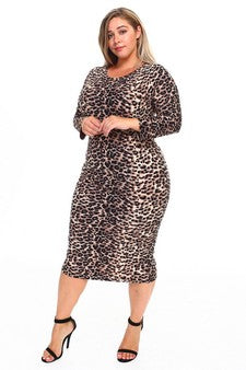 Leopard Bodycon Plus Size Midi Dress