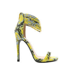Qupid Neon Yellow Snake Skin Sandals