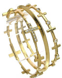 Gold Cross Bangle Set