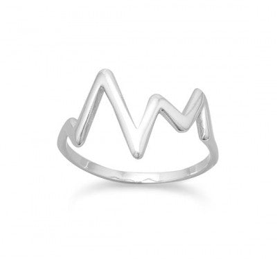 Rhodium Plated Heartbeat Design Ring