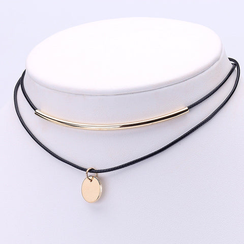 Black and Gold Choker with Gold Pendant