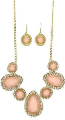 Pink Stone Fashion Necklace Set