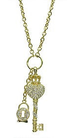 Gold Fashion Necklace With Lock & Key Charm