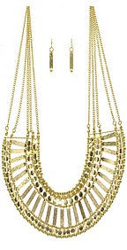 Gold Layered Bib Necklace Set