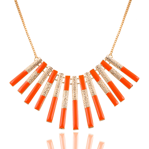 Orange & Gold Pendent Necklace