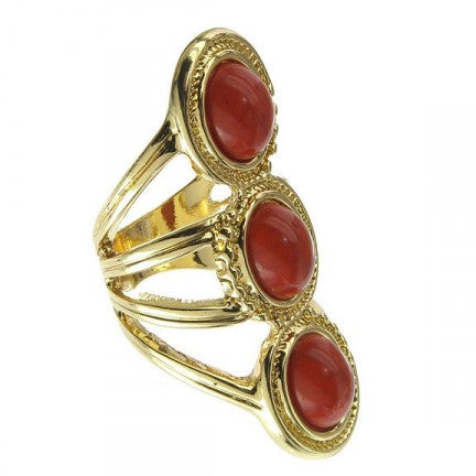 Triple Oval Stack Ring Red