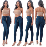 High Waisted Button Fly Skinny Jeans