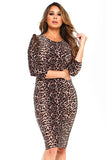 Leopard Bodycon Midi Dress