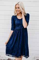 Sweetheart Lace Dress | Navy