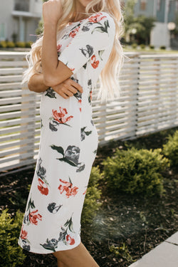 The Katie Floral Tee Dress: White