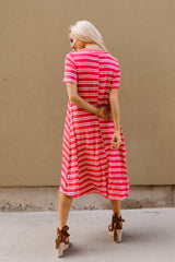 The Carlee Swing Dress: Coral Stripe