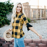 Buffalo Check Bell Sleeve Top: Black/Mustard