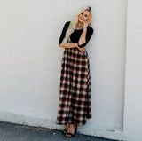 The Dusti Maxi Dress | Black Top with Plaid Skirt