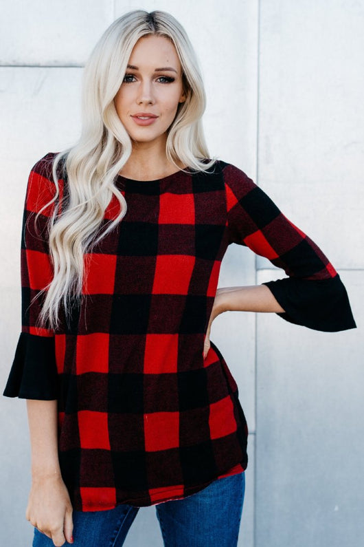 Buffalo Check Bell Sleeve Top: Red/Charcoal