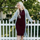 Plaid Tee Dress: Red/Navy