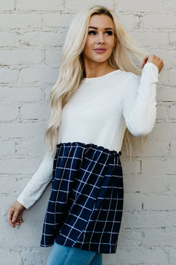 The Macey Top: White Top/Navy Plaid