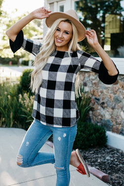 Buffalo Check Bell Sleeve Top: Black/White