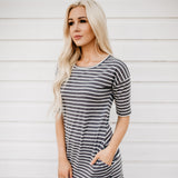 The Mekenna Dress: Charcoal/White