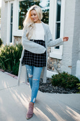 The Macey Top: White Top/Black Plaid
