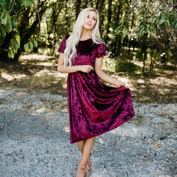 Crushed Velvet Midi Dress: Berry