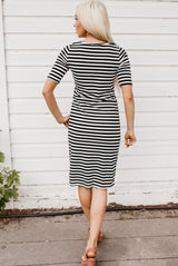 Everyday Tee Dress: Black Stripe