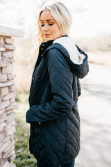Quilted Coat with Fur Lined Hood: Navy